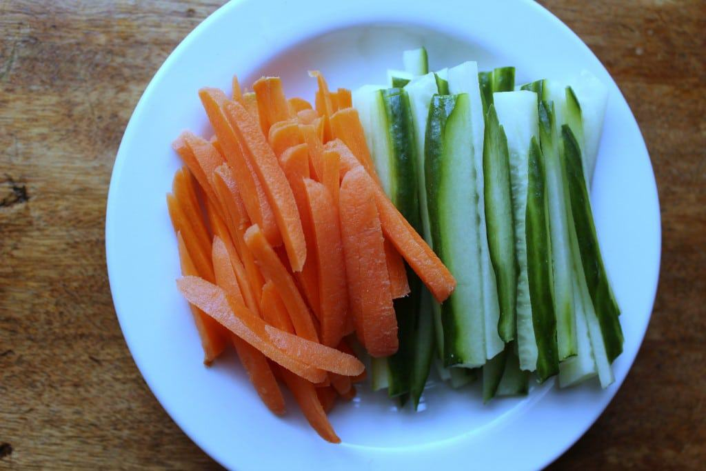 Sliced carrots and cucumbers