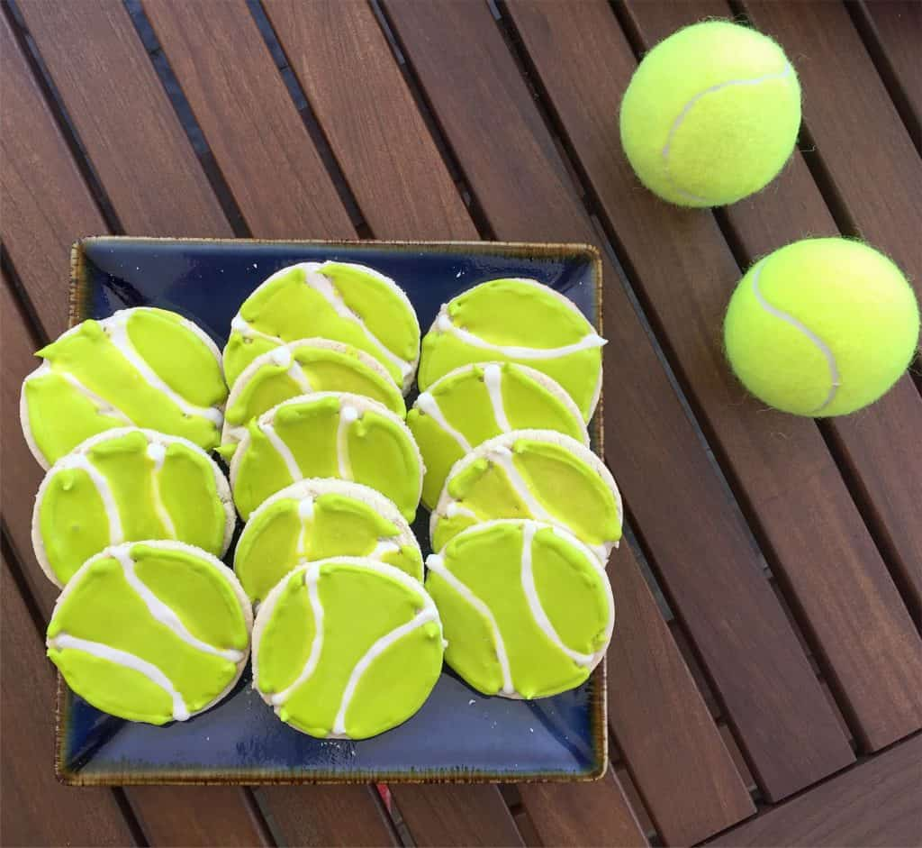 Tennis ball cookies for a tennis themed party