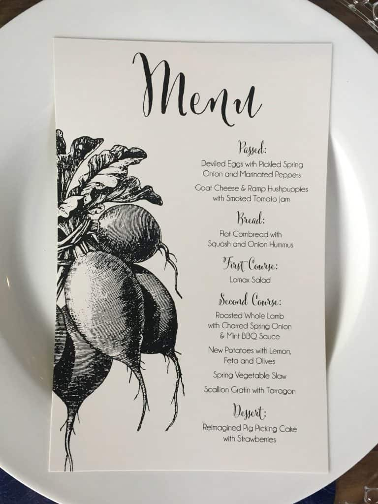 Lomax Farm Dinner Menu