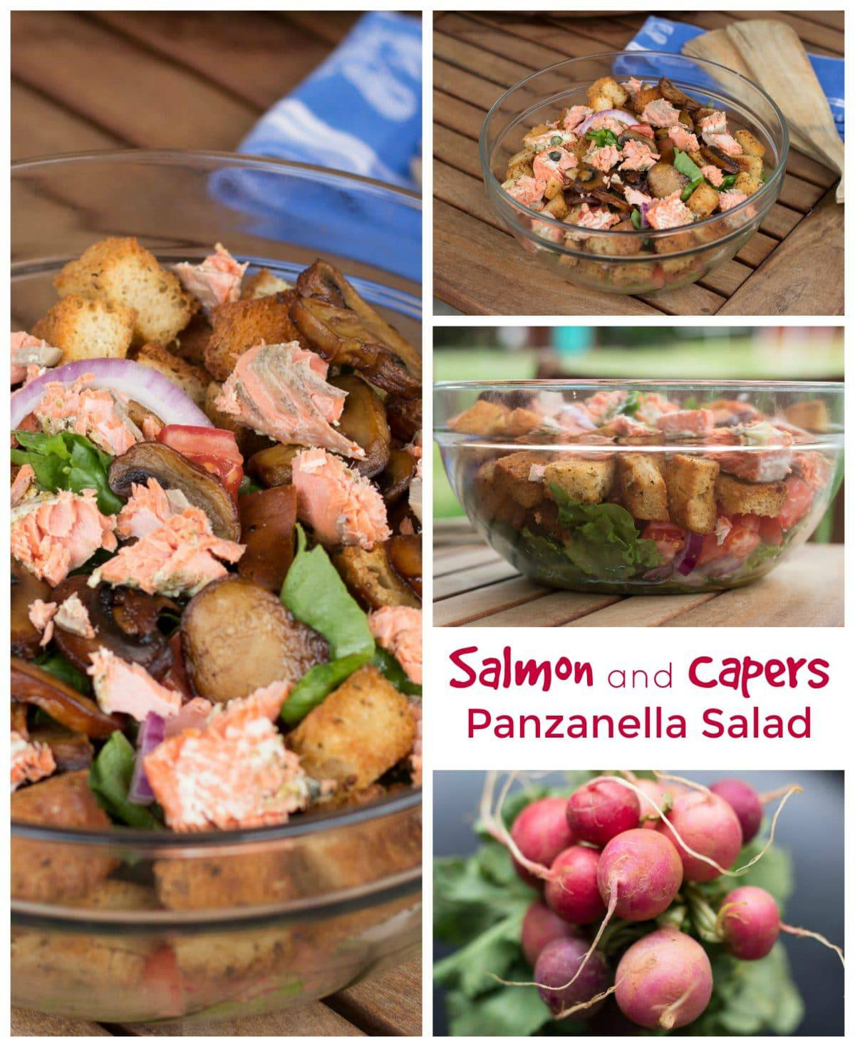 Salmon and Capers Panzanella Salad #SundaySupper || Erin Brighton | gluten free | salads | easy dinners