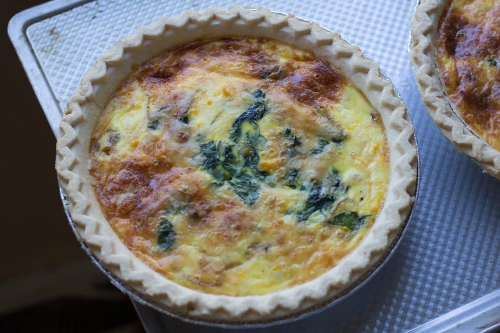 Easy Quiche Lorraine With Caramelized Onions and Sauteed Swiss Chard