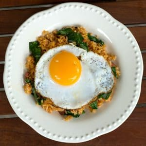 Kimchi Fried Rice With Kale || Erin Brighton | easy dinners | gluten-free | vegetarian | duck eggs | Asian food