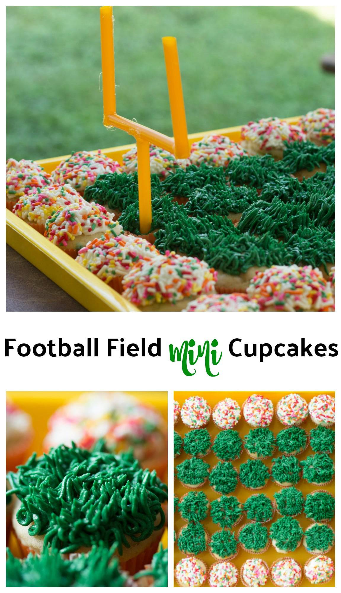 Football Field Mini Cupcakes || Erin Brighton | Super Bowl | Football Party | tailgating | cake decorating | gluten free | party food